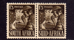SUD SUID SOUTH AFRICA RSA AFRIQUE 1941 1943 SIGNAL CORPS 1sh 3p 1/3 PAIR COPPIA MLH - South Africa (...-1961)