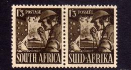 SUD SUID SOUTH AFRICA RSA AFRIQUE 1941 1943 SIGNAL CORPS 1sh 3p 1/3 PAIR COPPIA MLH - Afrique Du Sud (...-1961)