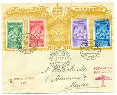 VATICANO 1939 INCORONAZIONE PIO XII BUSTA VIAGGIATA  POSTA AEREA RARA - Poste Aérienne