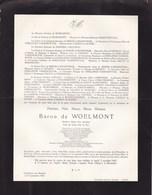 AVIATION Baron Frédéric De WOELMONT Soiron 1893-1960 Général-major Aviateur Aide De Camp Honoraire Du Roi Faire-part - Décès
