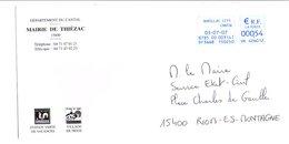 LETTRE DE MAIRIE DE THIEZAC CANTAL - Marcophilie (Lettres)