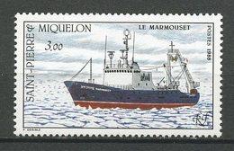 SPM MIQUELON 1988  N° 493 ** Neuf  MNH Superbe Bateaux Chalutier Le Marmouset Boats Ships Pêche Fishing Transports - Neufs