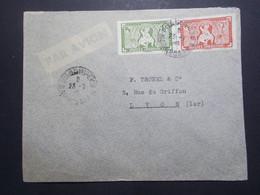Marcophilie  Cachet Lettre Obliteration - Timbres - INDOCHINE Phnom Penh Vers La France (2354) - Indochine (1889-1945)