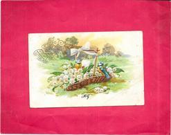 CPA COLORISEE FANTAISIE - Couple D'Oiseaux  - BES3 - - Easter