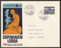 Portugal Premier Vol Copenhagen Lisbonne 1967 First Flight Copenhagen Lisbon - Poste Aérienne