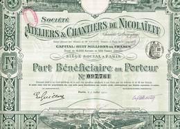 Ancienne Action - Sté Des Ateliers & Chantiers De Construction De Nicolaïeff - Titre De 1911 - Déco - N° 097761 - Russie