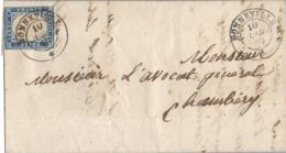 [831] SARDAIGNE - Savoie - Lettre De Bonneville à Chambéry Avec N°15 - 10-06-1859 - Sardaigne