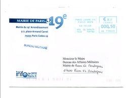LETTRE DE MAIRIE DE PARIS 19 EME - Postmark Collection (Covers)