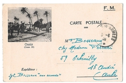 Ww2 - Guerre 39 - Propagande - Cpfm Illustree - Oasis - Algérie - Poste Aux Armées - 2 Scans - Cartes De Franchise Militaire