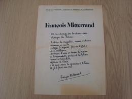 TRACT FRANCOIS MITTERRAND - Historische Dokumente