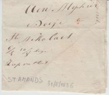 BELGIUM USED COVER 31/08/1836 SAINT AMANDS SAINT NICOLAS - 1830-1849 (Belgique Indépendante)