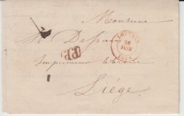 BELGIUM USED COVER 26 JUIN 1846 LOUVIN LIEGE PP - 1830-1849 (Belgique Indépendante)