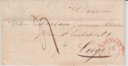 BELGIUM USED COVER 23 MARS 1838 LOUVAIN LIEGE REGIMENT DES GRENADIERS - 1830-1849 (Belgique Indépendante)