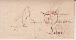 BELGIUM USED COVER 12 NOVEMBRE 1846 NAMUR LIEGE IMPRIMERIE GERARD - 1830-1849 (Independent Belgium)