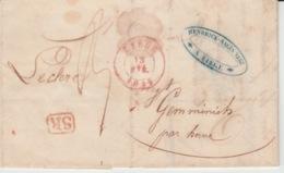 BELGIUM USED COVER 12 AVRIL 1845 LIEGE GEMMENICH (BERNE) - 1830-1849 (Belgique Indépendante)