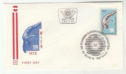 1974 FDC European AQUATICS CHAMPIONSHIP DIVING Stamps SPECIAL Pmk Cover AUSTRIA Sport Swimming - Tauchen