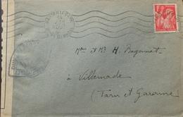 R1947/76 - TYPE IRIS N°433 Sur ✉️ Censurée Par L'autorité Militaire - MARSEILLE-GARE 14 AOÛT 1941 > VILLEMADE (Lot Et G) - France