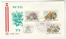 1974  FDC International GARDEN SHOW FLOWERS FRUIT Stamps Cover AUSTRIA Special Pmk Flower - Fruits