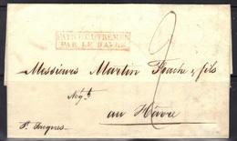 LAC De POINTE A PITRE (Guadeloupe) Pour LE HAVRE, Marque D'entrée PAYS D'OUTREMER PAR LE HAVRE En Rouge, 1829. - Marcophilie (Lettres)