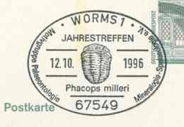 924  Trilobite Phacops Milleri: Oblit. Temp D'Allemagne, 1996 - Fossil Special Cancel From Germany. Prehistory - Briefmarken