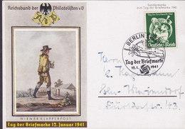 Germany Deutsches Reich Sonderstempel Tag Der Briefmarke Jour De Timbre Wiener Klapperpost BERLIN 1941 Card Karte - Briefe U. Dokumente