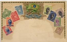 X741-Brazil-Ottmar Zieher Embossed Stamp Postcard, Nº 38, Flag.- Unused - Postzegels (afbeeldingen)