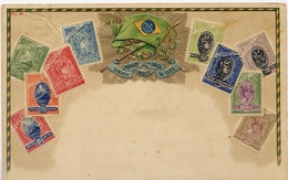 X741-Brazil-Ottmar Zieher Embossed Stamp Postcard, Nº 38, Flag.- Unused - Timbres (représentations)
