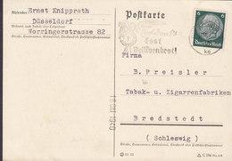Germany Deutsches Reich Slogan 'Esst Vollkornsbrot!' DÜSSELDORF 1940 Card Karte Tabak- U. Ziggaren BREDSTEDT Schleswig - Briefe U. Dokumente