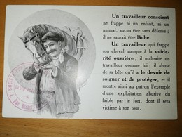 Cpa-un Travailleur Qui Frappe Son Cheval Manque à La Solidarité Ouvrière-signée Burndray(cachet De La Spa De St Etienne) - Chevaux