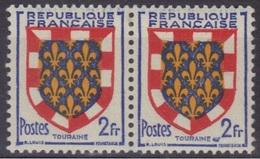 Blason TOURAINE N°902** : Point Bleu Après Touraine (Cérès N°902x), Tenant à Normal (TAN). - Variétés Et Curiosités