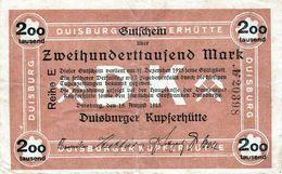 Billet La Cuivrerie De La Ville Duisburg En Allemagne De 200000 Marks Le 15-08-1923 - [ 3] 1918-1933 : República De Weimar