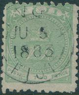 Fiji 1881 SG40 2d Yellow-green Crown And VR P10 FU - Fiji (1970-...)