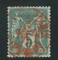FRANCE: Obl., N° YT 75, T.II, Vert, Obl. Cachet Rouge Des Imprimés, TB - 1876-1898 Sage (Type II)