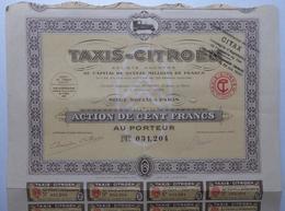 Taxis-Citroën - Paris 1924 - Titre Avec Coupons - Automobile