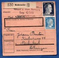 Colis Postal  -  Départ  Niederweiler--  19/3/1943 - Covers & Documents