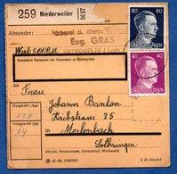 Colis Postal  -  Départ  Niederweiler--  21/12/1942 - Covers & Documents