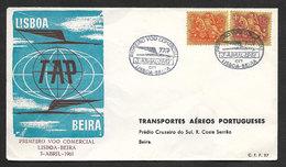 Portugal Premier Vol Lisbonne Beira Mozambique 1961 First Flight Lisbon Beira - Poste Aérienne