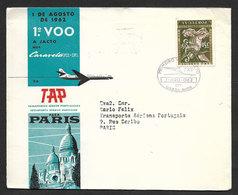 Portugal Premier Vol A Jact TAP Lisbonne Paris France Caravell VI-R 1962 First Jact Flight Lisbon Paris - Poste Aérienne