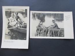 3.Reich Feldpost / Propagandakarten Wehrmacht / Soldat Mit Frau Im Boot. Erwachende Liebe! / Was Kann Es Schöneres Geben - Briefe U. Dokumente