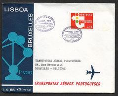 Portugal Premier Vol TAP Lisbonne Bruxelles Belgique Atomium 1965 First Flight Lisbon Brussels Belgium Cover - Poste Aérienne