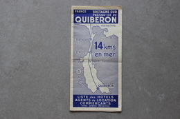 Presqu'île De Quiberon (Morbihan), Liste Des Hôtels, Agents De Location, Commerçants, 1961 - Dépliants Touristiques