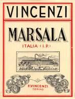 """D9238 """"VINCENZI - MARSALA - ITALIA (I.P.) - F. VINCENZI TORINO"""".  ETICHETTA ORIGINALE. - Labels"""