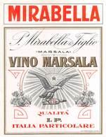 """D9239 """"MIRABELLA - VINO MARSALA - QUALITA ITALIA PARTICOLARE(I.P.) - P. MIRABELLA E FIGLI"""".  ETICHETTA ORIGINALE. - Etichette"""