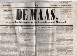 """Maaseyck;28/2/1874.Weekblad  """"DE MAAS"""" - Documents Historiques"""