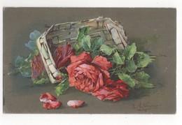 C Klein Roses In Basket Vintage Art Postcard - Klein, Catharina