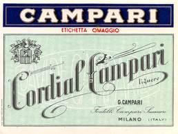 """D9241 """"CAMPARI - BITTER - CORDIAL CAMPARI - LIQUORE -G. CAMPARI - FRATELLI CAMPARI LUCESSORI"""".  ETICHETTA ORIGINALE. - Etiquettes"""