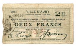 1914-1918 // Département Du Nord // Ville D'AUBY // Bon De Deux Francs - Bons & Nécessité