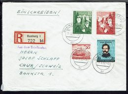 Allemagne - 1952 - N° 39/40 + 41 + 37 Sur Enveloppe En Recommandé De Hamburg Pour Chur (Suisse) - B/TB - - Briefe U. Dokumente