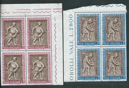 Italia 1963; Campagna Mondiale Contro La Fame, Serie Completa In Quartine D' Angolo. - 1961-70: Mint/hinged