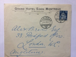 SWITZERLAND 1913 Cover Grand Hotel Eden - Montreux To London England - Switzerland